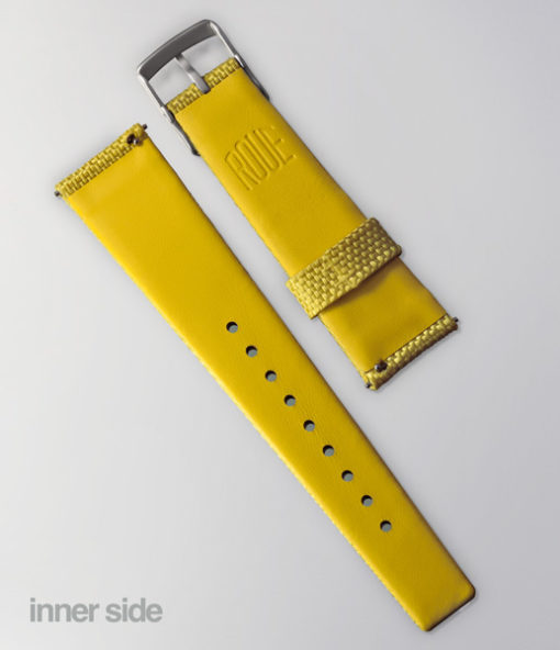 Roue Watch Yellow Strap - Nylon front/Leather back