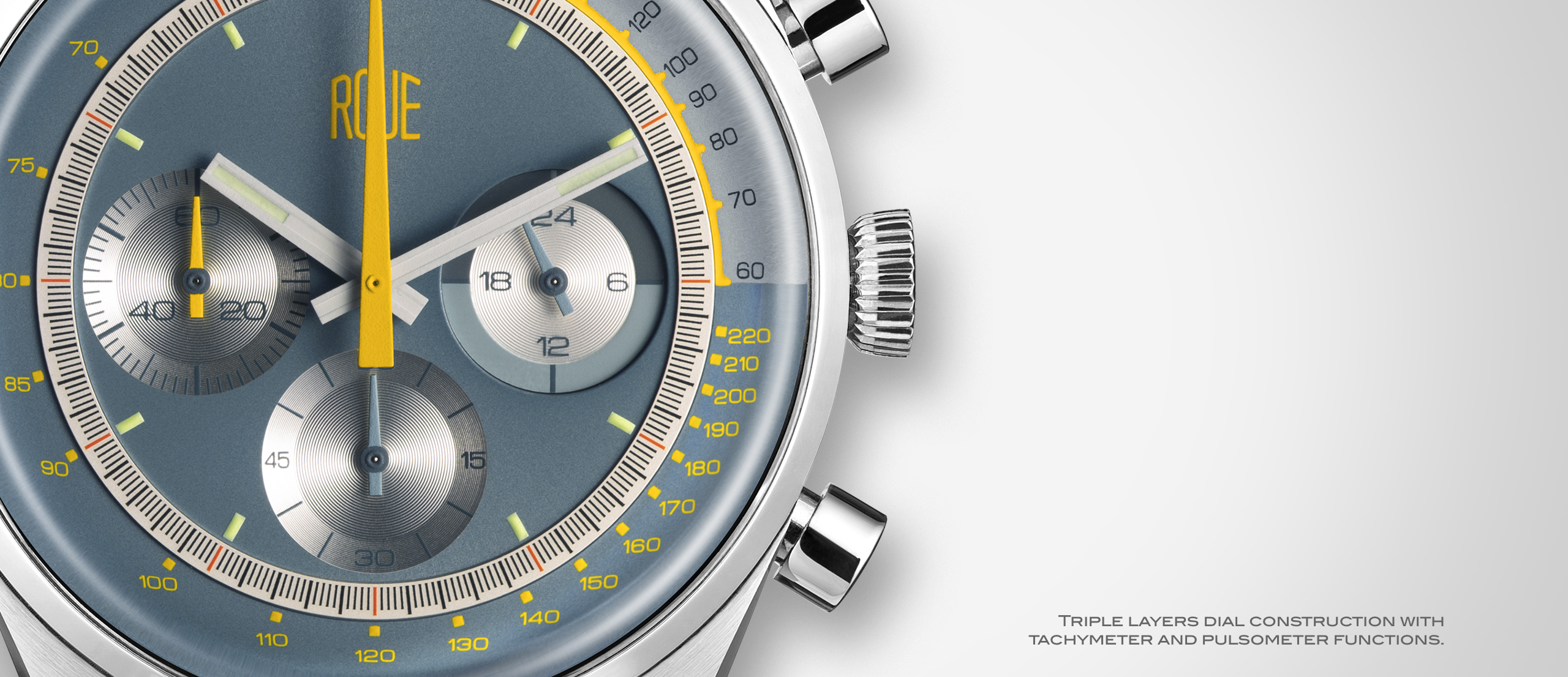 Roue Watch TPS Model - Triple layers dial construction with tachymeter and pulsometer functions
